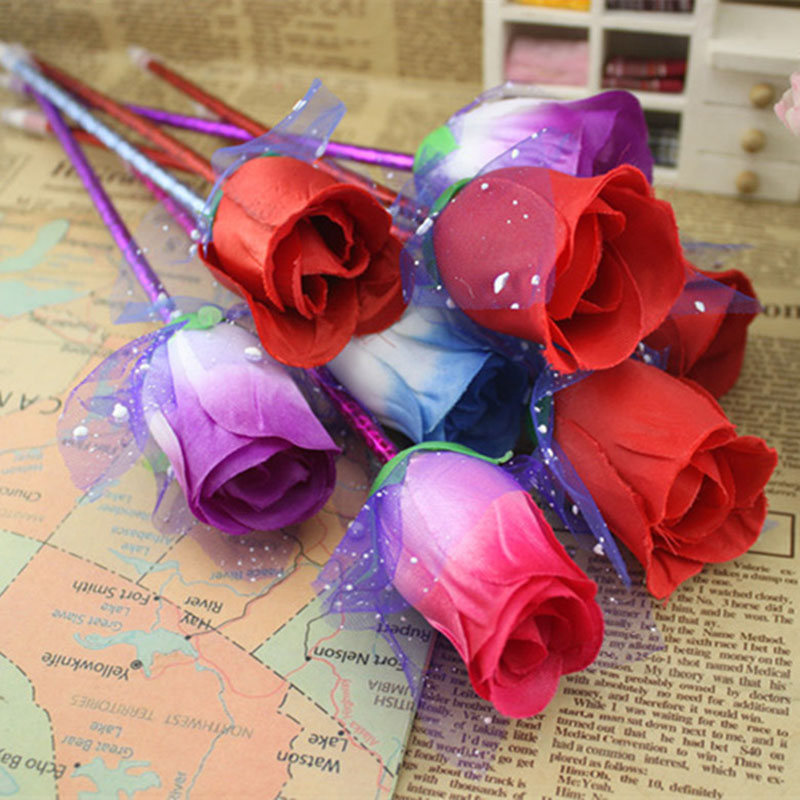 10 Pieces/Set Of New Artificial Flowers Rose Ball Pen ValentineS Day Gift Gift Rose Decoration Desk Couple Ballpoint Pen