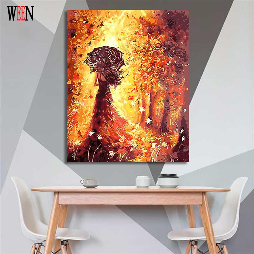Dress girl Painting By Numbers On Canvas DIY Umbrella girl Digital Picture Coloring By Numbers Fall Home Decor Gift Poster in Painting Calligraphy from Home Garden
