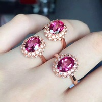 Pink Topaz Natural Gift Adjustable Micro Setting 925 Sterling Silver Ring