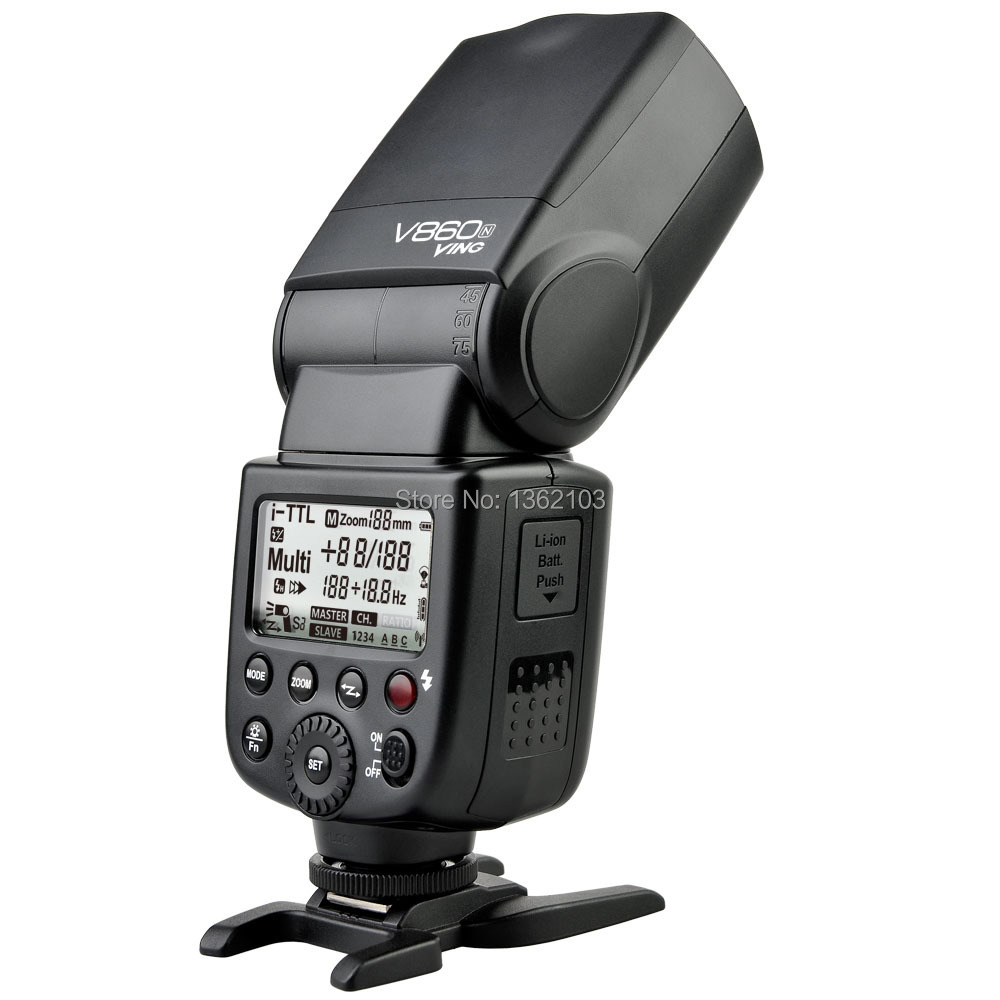 Godox VING V860N V860 I-TTL HSS Master Li-ion Flash Speedlite 1/8000s For NIKON d90 d7000 d7100 d800 d5300 d5200 d3200 godox ving v860n speedlite ttl li ion speedlight flash high speed godox ft 16s wireless flash trigger kit for nikon dslr