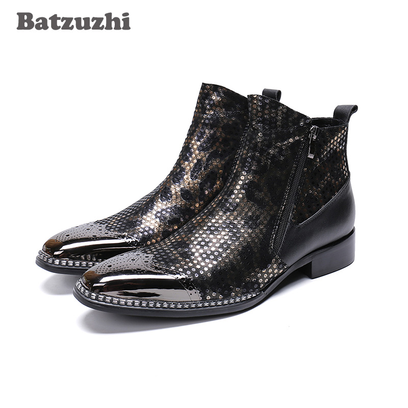 Batzuzhi POP Men Boots Super Star Men Leather Ankle Boots Men Black Pointed Metal Tip Party and Wedding botas hombre, Big US6 12