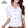 Elegant Office Lady V-Neck Fashion Blouses Size S-2XL New Korean Style Women White Career Cotton Shirts