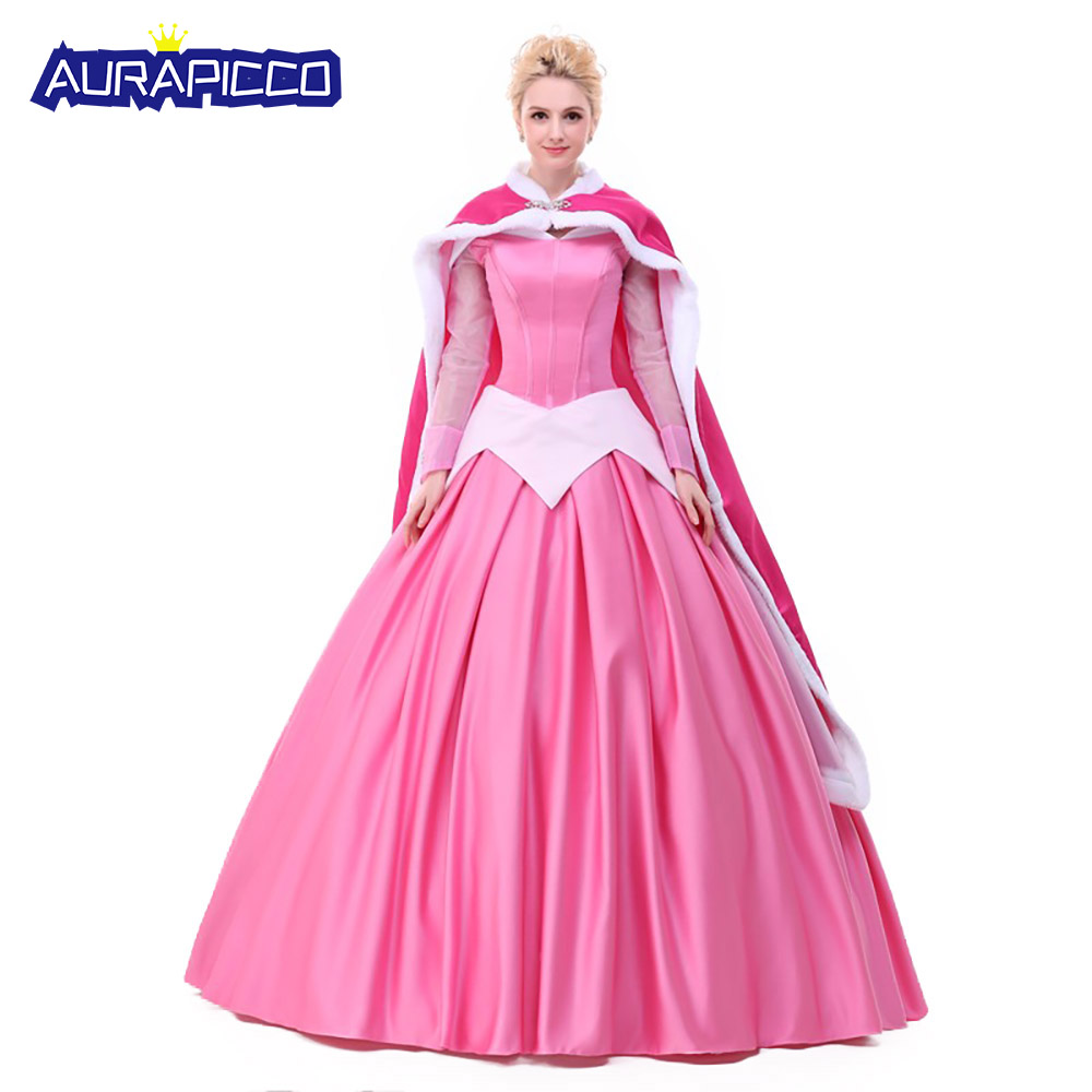 Princess Aurora Dress Deluxe Sleeping Beauty Cosplay Costume Halloween Carnival Ball Gown Party Dress for Adult Women AuraPicco