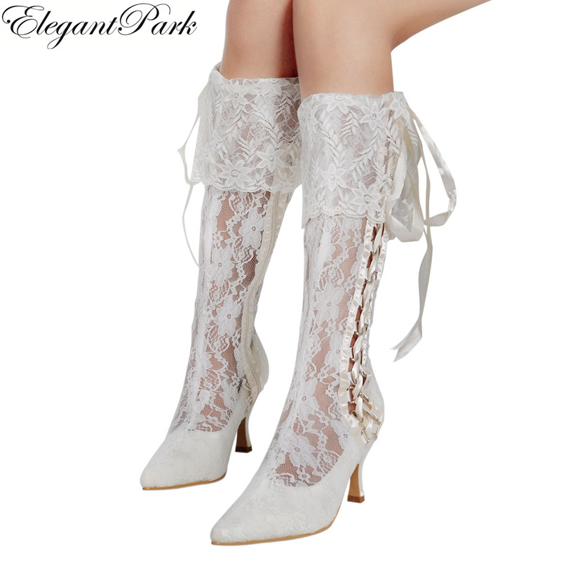 White Ivory Women s Boots Knee high Calf Mid Heel Wedding Bridal Shoes Lace up Bride