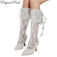 Woman Lace Boots White Ivory Pointed Toe Mid Heel Lace-up Pumps Bride  Bridesmaids Lady