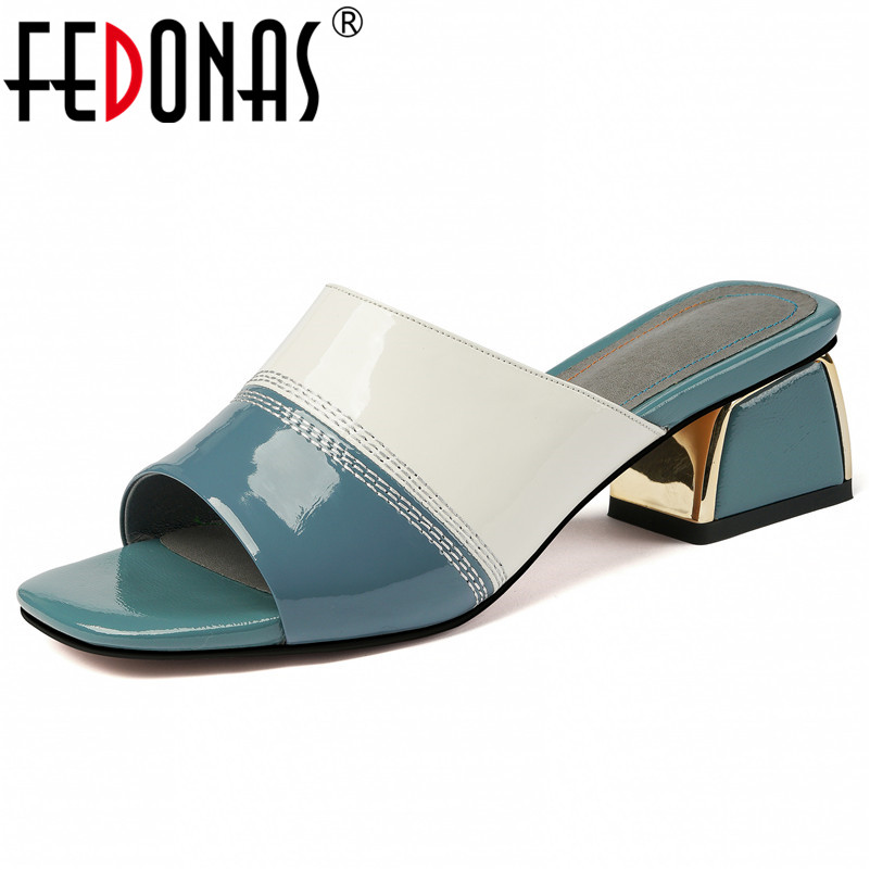 FEDONAS クラシックピープトウ蹄かかと女性サンダルの混合色本革スリップパンプス夏新党カジュアルシューズ女性  グループ上の 靴 からの ハイヒール の中 1