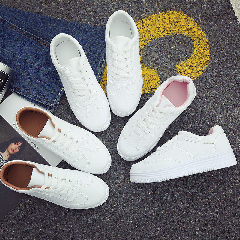White Leather Flat Shoes Women Canvas Lace Up Women Shoes White Plate Shoes Casual Flats Female Hiking Shoes Tenis Feminino