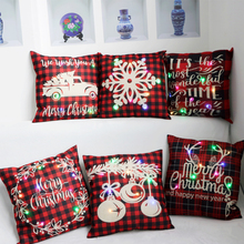 Linen LED Cushion Cover Printed Merry Christmas Pillow Case Woven Decorative Pillowcase Classic 45cm*45cm