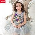 Принцесса Детские Платья для Девочек Одежда 2017 Марка Лето Девушки платье с 3D Роуз Цветочные Цветок Бальное платье на День Рождения партия