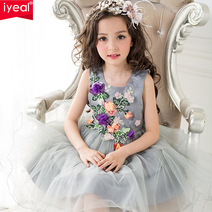 IYEAL Princess Kids Dresses for Girls Clothes 2017 Brand Summer Girl Dress with 3D Rose Floral Flower Ball Gown Birthday Party 2 15y girl dresses floral ball gown clothing for girls clothes children christmas princess summer girl party dress for kids