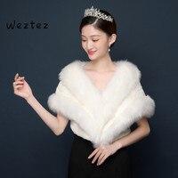 Bridal Coats Shawls Elegant Soft Autumn Winter Faux Fur Bride Wedding Wrap Bolero Jackets PJ64