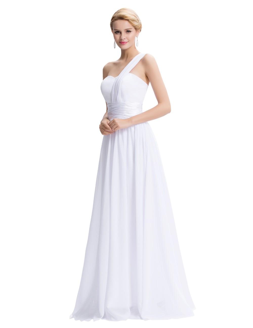 One Shoulder Chiffon A-line Evening Bridesmaid Dress