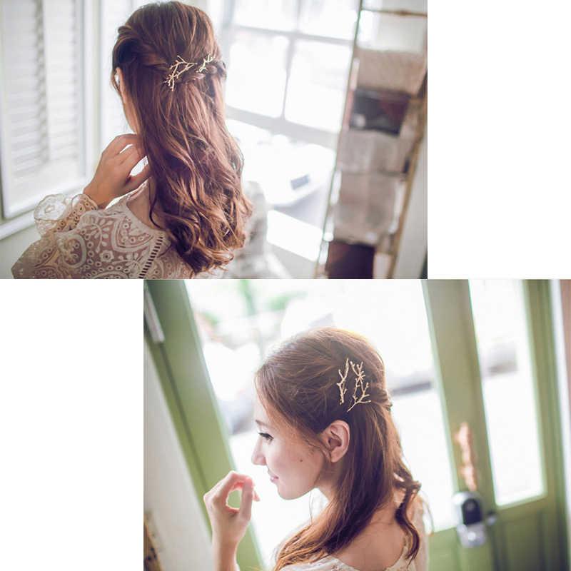 1 PC Perak Emas Fashion Daun Bentuk Gadis Lady Rambut Klip Logam Cabang Rambut Pins Klip Styling Alat Makeup Rambut aksesoris