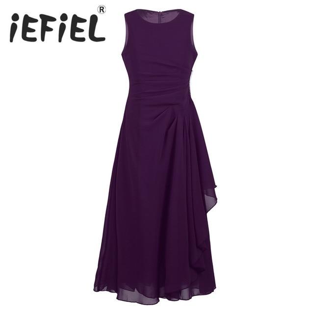 3c7bb03fa iEFiEL Kids Children Flower Girls Dress Formal Elegant Chiffon ...