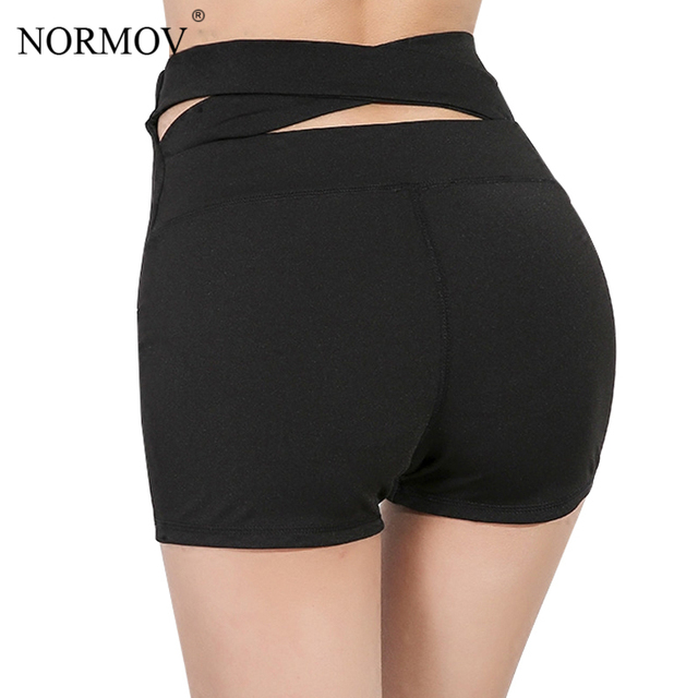 d1ffd2d497 NORMOV Casual Solid High Waist Shorts Women Summer Workout Sweat Shorts  Black Sexy Back Cross Breathable Home Shorts Female