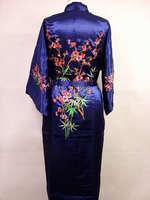 Vendita calda navy blu uomo cinese raso robe ricamo kimono bath Abito primavera autunno pigiami taglia s m l xl xxl xxxl ZHS01A