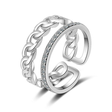 2019 New Double Layer Flat Chain Zircon Ring Open Rings Special Design Resizable Forefinger for Women Fashion Jewelry
