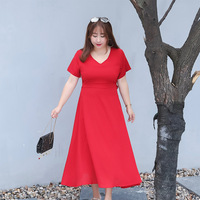 Fashion Women Elegant Sweet XL 4XL Plus Size Dress Sexy Party Princess Slim Summer Regular Natural Dresses Vestidos Red Black