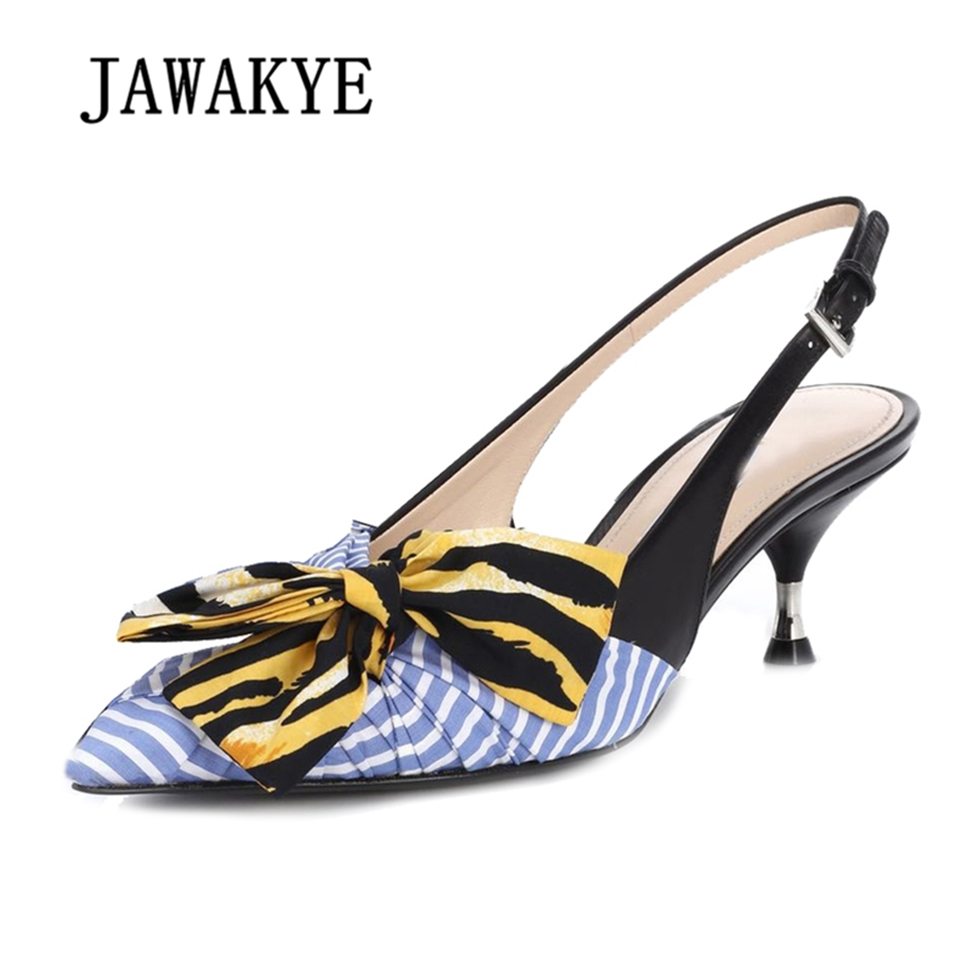 JAWAKYE Wies Slingback Kitten heels Schuhe Frau Blau Streifen seide bogen knoten Gladiator Sandalen Frauen Sommer Schuhe Zapatos Mujer-in Mittlere Absätze aus Schuhe bei  Gruppe 1