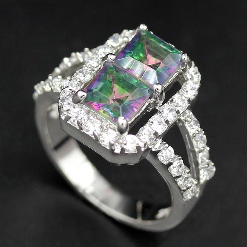 Fleure Esme Noble Generous Rainbow White Square Mystic Stone Woman Rings Fashion Women Jewelry Accessories Gift R769 sz# 6 7 8 9