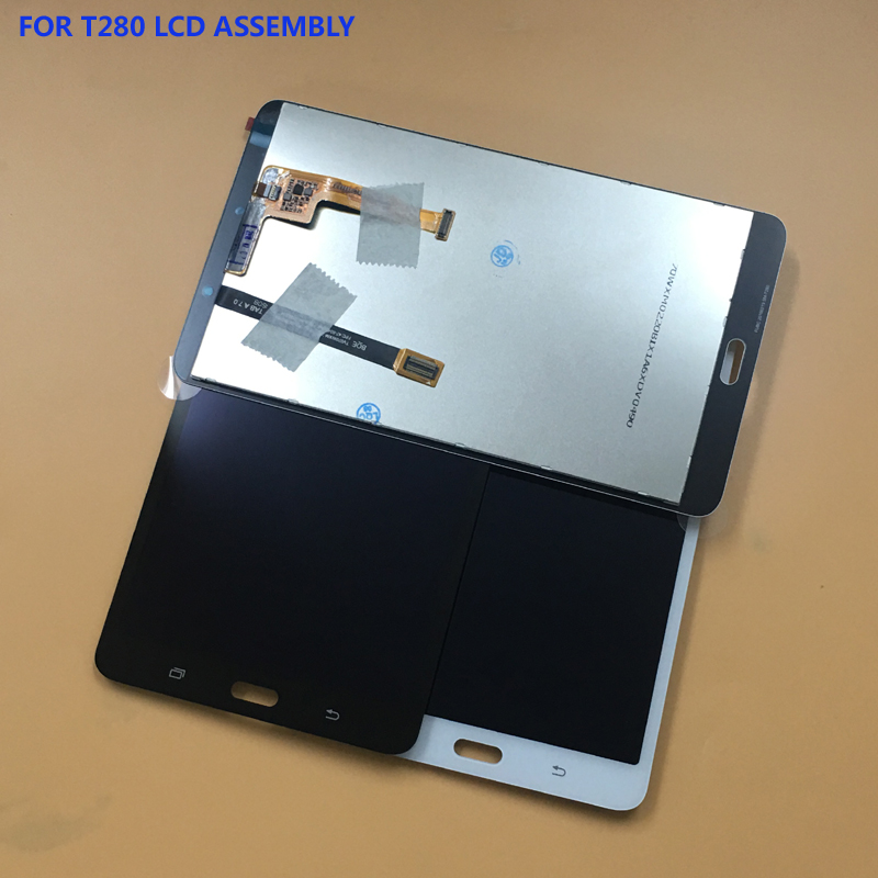Black / White For Samsung Galaxy Tab A 7.0 SM- T280 T285 Touch Screen Digitizer Panel Glass + LCD Display Panel Monitor Assembly for samsung galaxy tab s2 8 0 t710 tablet lcd display monitor touch screen digitizer panel glass assembly 100