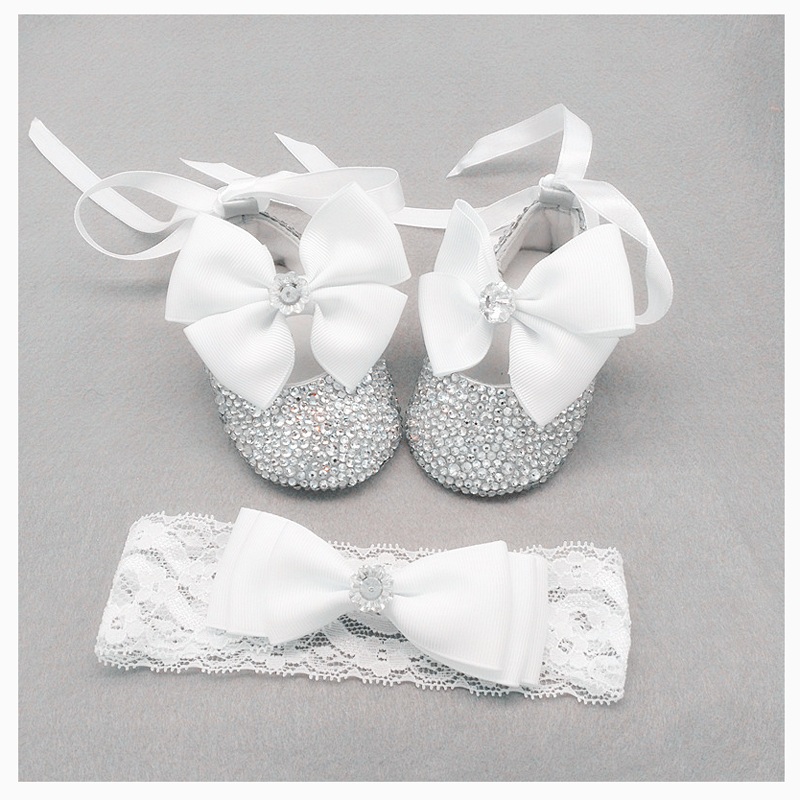 Set of headband toddler hand embellished Crystals noble Baby Shoes in grey Luxury Baby Gift Baby Girl's Christening Shoes BB23