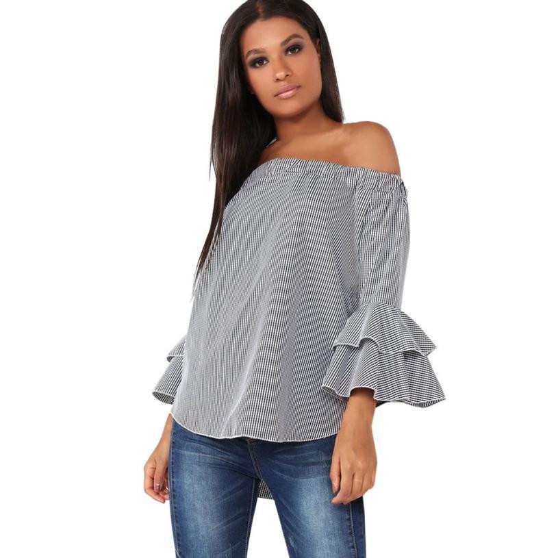 grays office. 2017 autumn women blouses gray plaid shirt long sleeve blouse off shoulder tops flare office grays