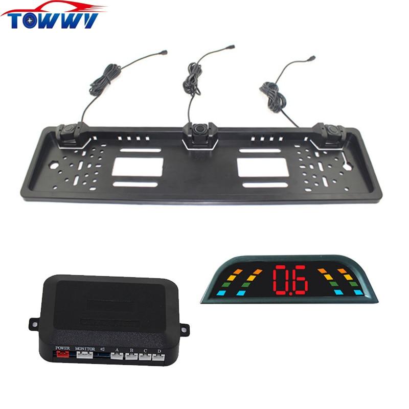 OEPZ303 L LED European Car License Plate Reversing System 3 Parking Sensors With BiBi Alarm Sound