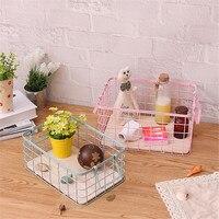 Wooden Bottom Storage Iron Basket with Portable Handle Home Toy Bath Lotion Bottle Clothing Finishing Metal Frame Basket
