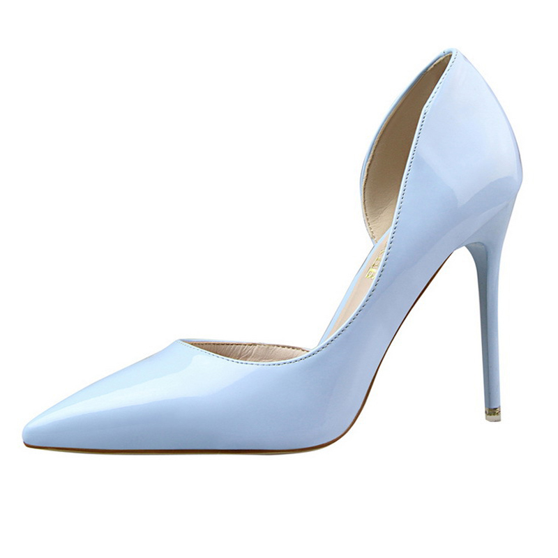 12 Candy Color PU Leather Sexy Women Pumps 10.5cm Thin High Heels Two Pieces Women Party Shoes Size 34-39