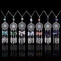Dream Catcher Collar bohemio Turquesa Lapis lazuli de Piedra Pluma Del Grano Natural de Amatista Rosa de Cristal Collar Collares Joyería