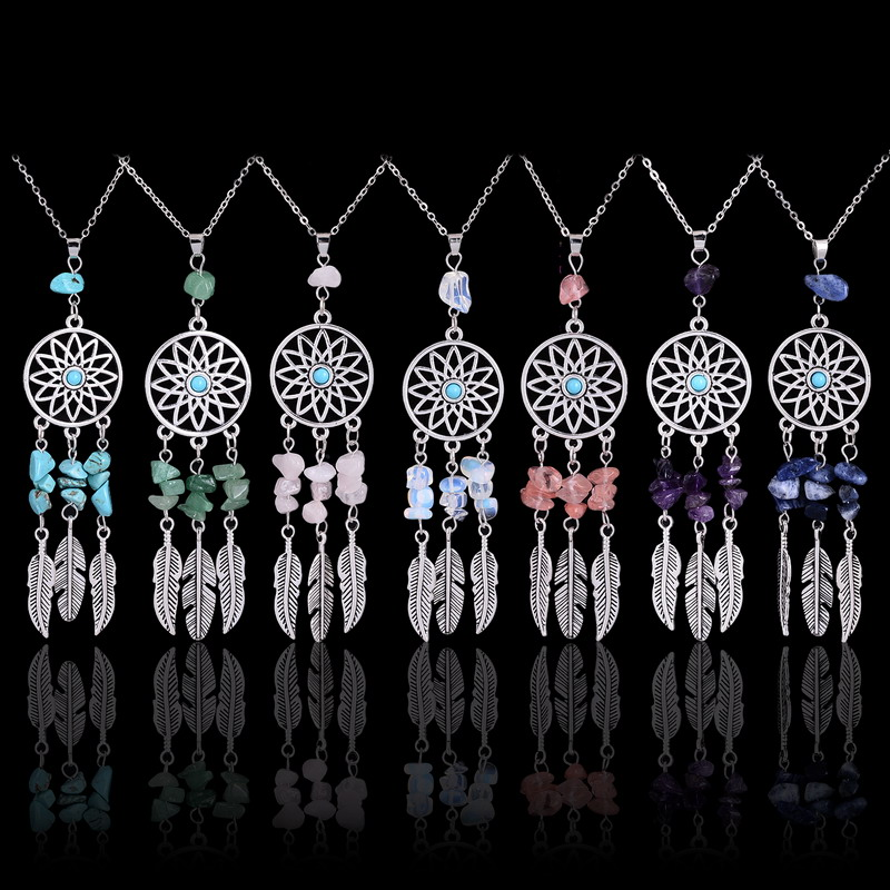 Qilmily Natural Stone Crystal Feather Pendants Necklaces for Women Drop Bohemian Long Necklace Lapis lazuli Rose