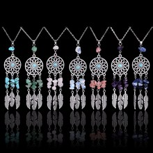 Qilmily Natural Stone Crystal Feather Pendants Necklaces for Women Drop Bohemian Long Necklace Lapis lazuli Rose Collars Jewerly