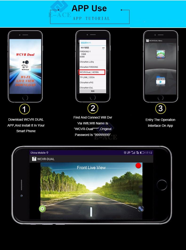 E-ACE Car Dvr WIFI DVRs Dual Camera Lens Registrator Dashcam Digital Video Recorder Camcorder Full HD 1080P 30FPS Night Version 15