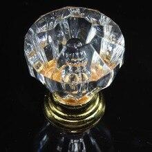 10pcs 25mm transparent acrylic furniture knobs diamond head drawer cabinet knobs pulls gold dresser cupboard door handles SJ253