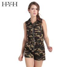 HYH HAOYIHUI Army Green Camouflage Print Women Jumpsuit Sleeveless Front Zipper Turn-down Collar Streetwear Casual Slim Playsuit