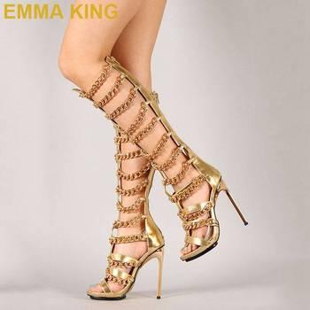 2019 Fashion Women Open Toe Knee High Chain Design Gladiator Boots Stiletto High Heels Gold Sandal Boots Women Dress Shoes