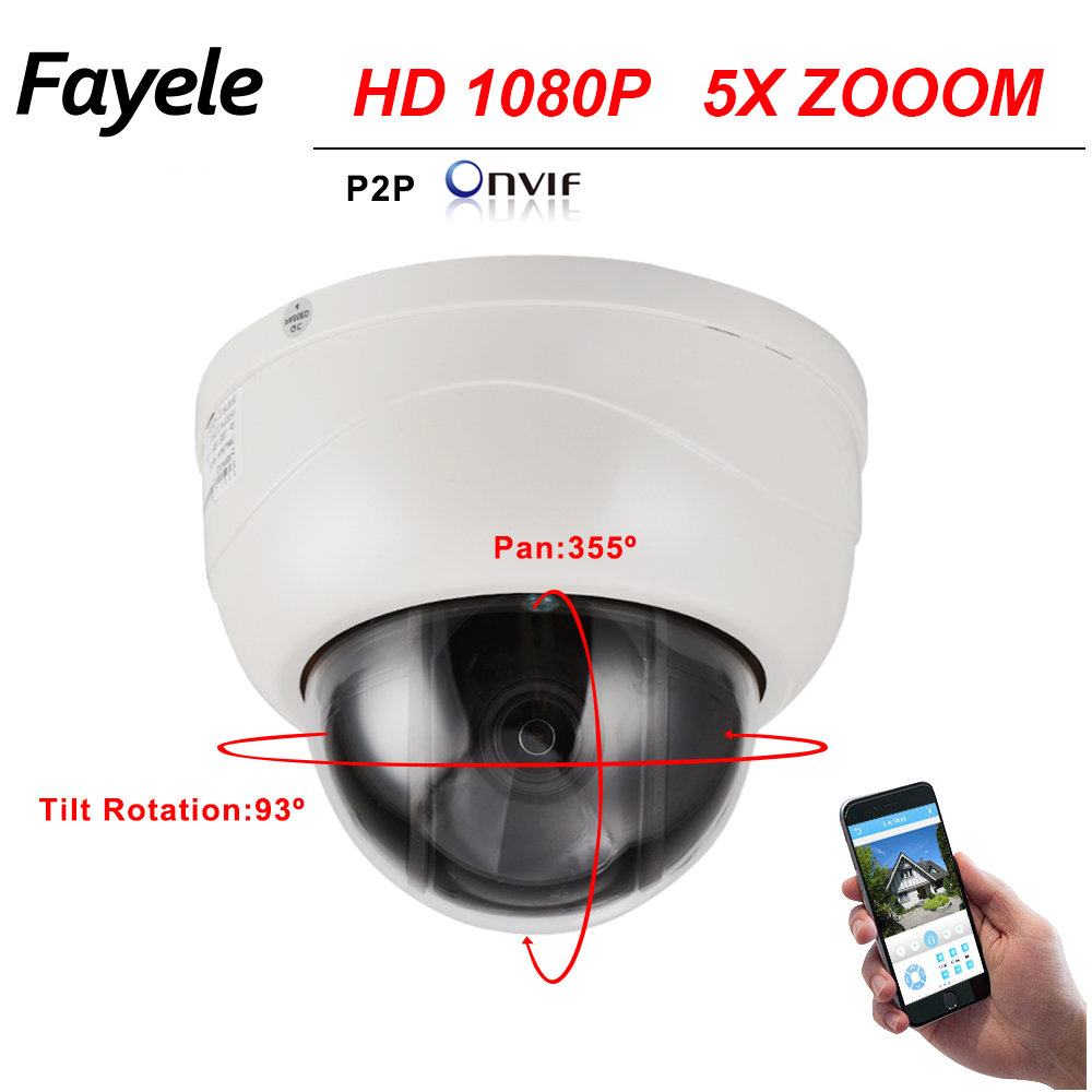 H.265 CCTV Security 2.5 Dome PTZ Camera HD IP 1080P 5X Zoom 2.7~13.5mm lens 2MP IP Camera Pan Tilt IR 40M P2P Mobile View ONVIF