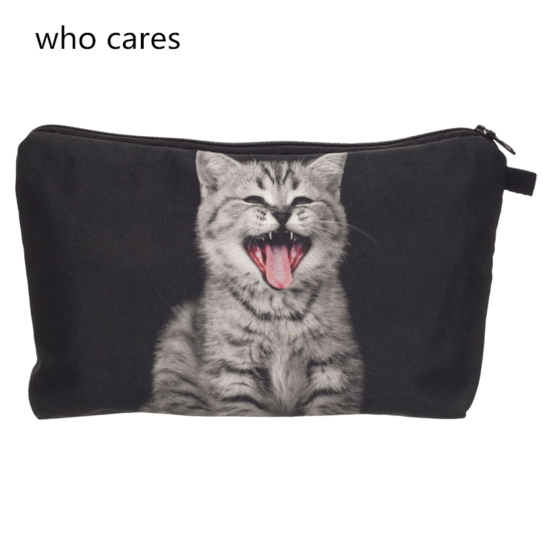 Who cares New Cosmetic Bag Women Neceser Portable Make Up Bag 3D Printing Cry Cat Organizer Bolsa feminina Travel Toiletry Bag