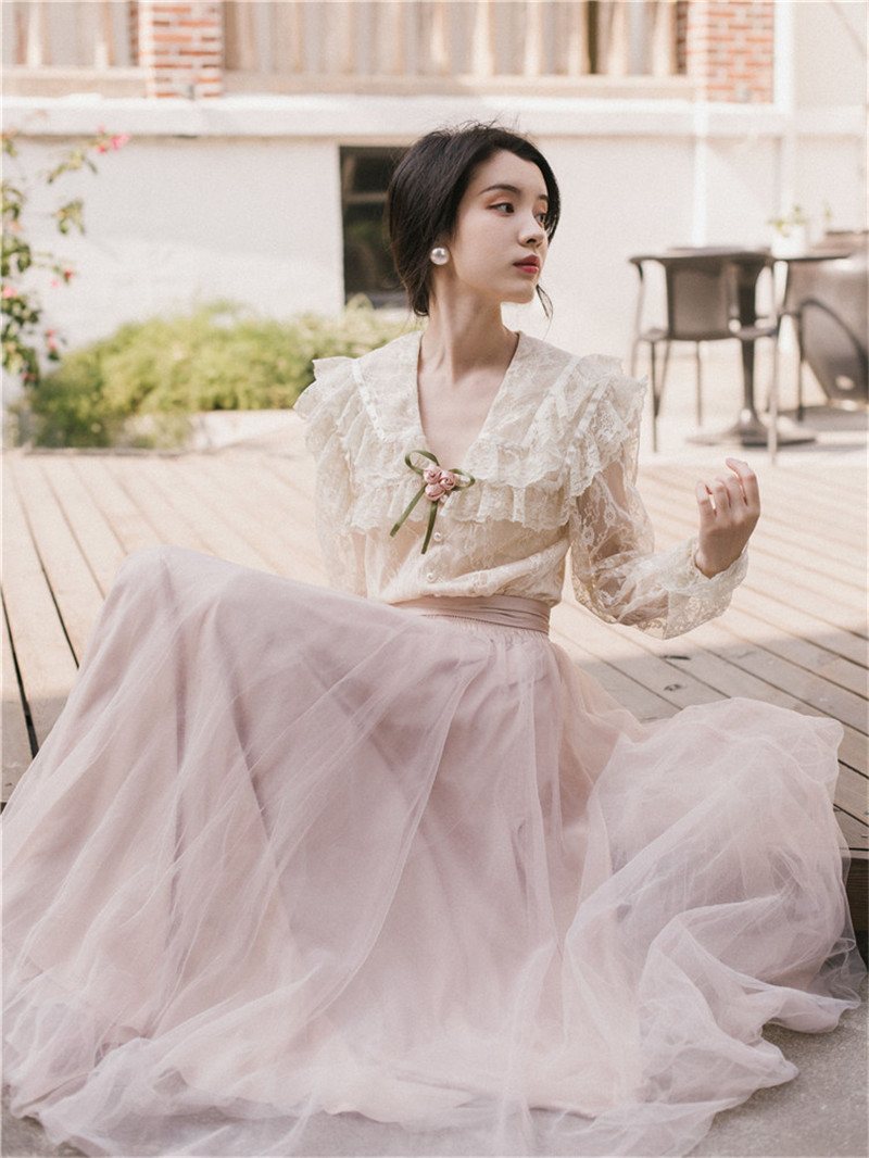 2019 Fashion Women Fairy Two Piece Dress Sets Long Sleeve Lace Ruffled Shirt&Mesh Tutu Skirt Sets Female 2pc Skirt Suits Outfits