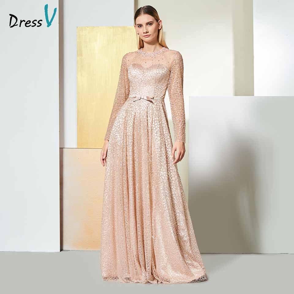Dressv Elegant Scoop Neck Evening Dress Button Sequins Long Sleeves Sashes Bowknot Wedding Party Formal Dress Evening Dresses