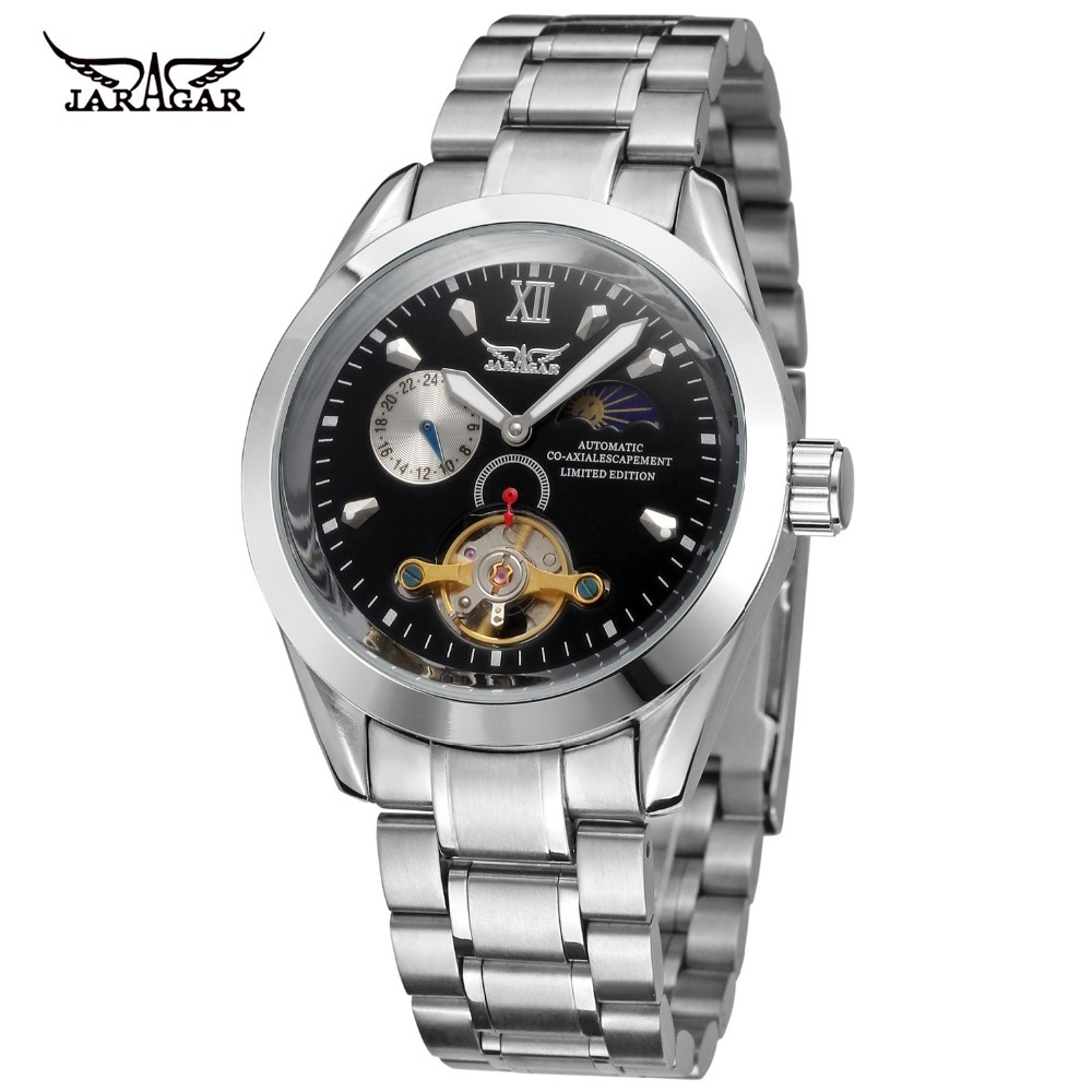 Jargar Men's Watches New Style  Casual Tourbillon Stainless Steel Famous Brand Wristwatches Color Black famous brand jargar automatic watches men casual style men watch free shipping jag8013m3s1