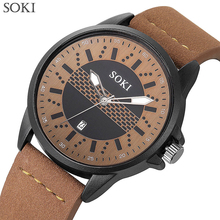 Mens Fashion Casual Sport Quartz Watch Watches Top Brand Luxury Leather Drop Shipping Wristwatch Male Clock SOKI New