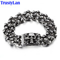 TrustyLan Aliexpress Men Bracelet Stainless Steel Skull Links Chain Bracelet Men's Bracelets Jewellery Pulseras Hombre Express