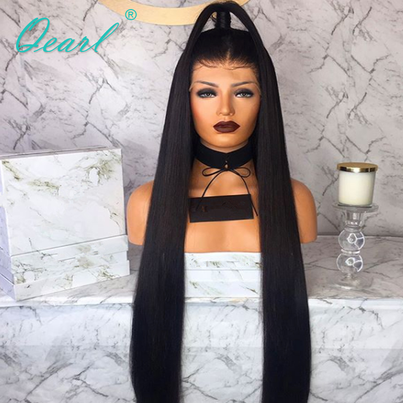 Long Human Hair Glueless Lace Front Wigs 26 quot 28 quot 30 quot Silky Straight Freestyle 13x4 180 250 Density Pre Plucked Lace Wig Qearl in Human Hair Lace Wigs from Hair Extensions amp Wigs