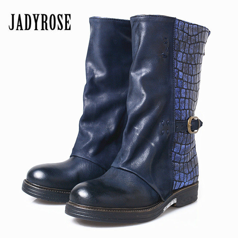 Jady Rose Vintage Blue Genuine Leather Women Boots Winter Casual Martin Boot Mid-Calf Platform Rubber Boots Women High Botas jady rose casual gray women ankle boots straps genuine leather short flat botas autumn winter female platform martin boot