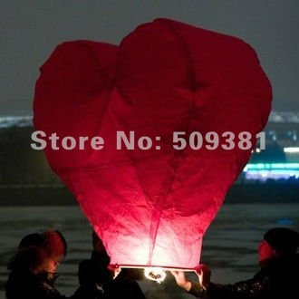 100 pcs/Lot, Free Shipping, Hearted-Shaped Chinese Conventional  Festival Flying Sky Lanterns, Big Size Lanterns, Red and White