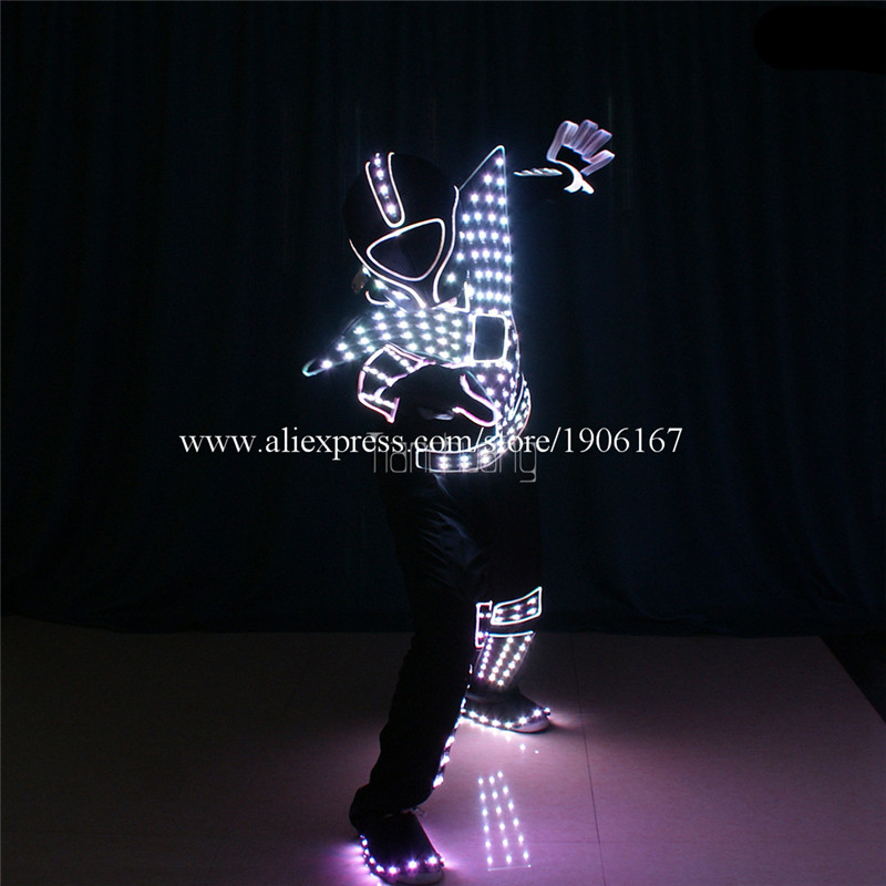 Programmable Men led robot costumes dance costumes robot suit full color led light dj clothes luminous stage wears disco0