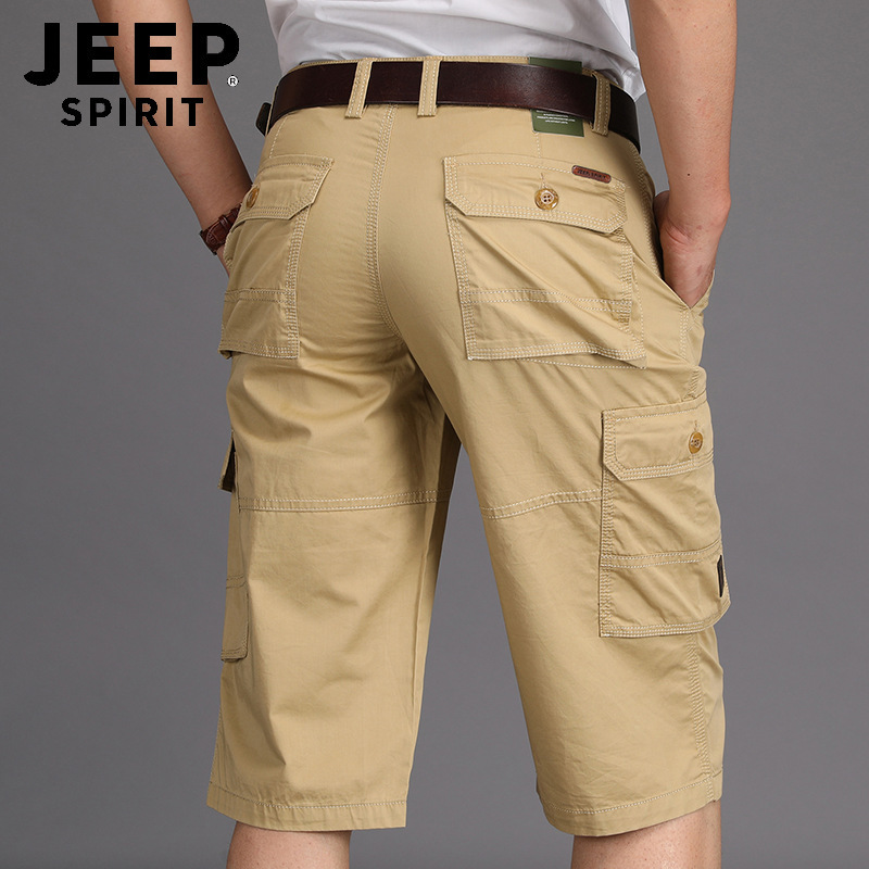 JEEP SPIRIT 100%Cotton Cargo Shorts Men Summer Casual Men Shorts Mid-waist Straight Many Pockets Short Pantalones Cortos Hombre