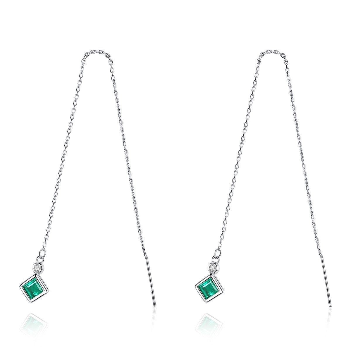 1e5856c57192 Plata de Ley 925 Esmeralda pendientes largos pendientes de joyería fina  para las mujeres Simple diseño regalos de navidad Brincos al por mayor